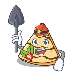 Miner crepe mascot cartoon style vector