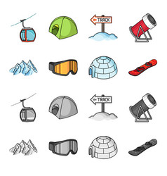 Mountains goggles an igloo a snowboard ski vector