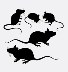 Mouse and rat animal silhouette vector image