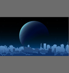 night city landscape with a large planet on the vector image
