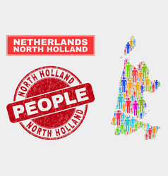 North holland map population people and corroded vector