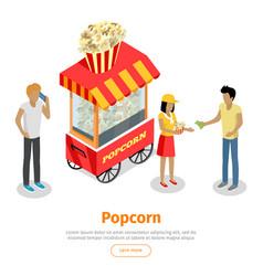 popcorn conceptual isometric web banner vector image