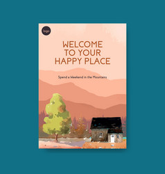poster template with landscape in autumn design vector image