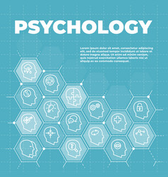psychology background with icons and signs vector image