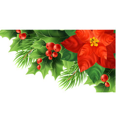 Red poinsettia flower realistic vector
