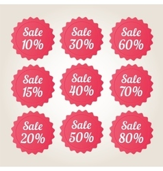 Red sale badge stickers set vector image