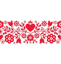 Retro polish floral folk art greeting card vector