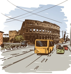 Rome cityscape drawing vector image