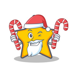santa with candy star character cartoon style vector image