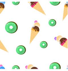 seamless pattern ice cream and kiwi vector image