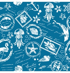 Seamless pattern with Sea and tropical elements - vector
