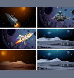 Set space ship scenes vector