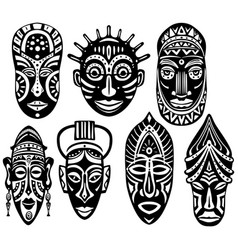 Set tribal african masks vector