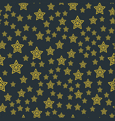 shiny stars style seamless pattern pentagonal gold vector image