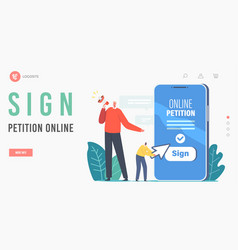 Sign online petition landing page template vector