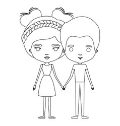 Silhouette caricature thin couple of man and woman vector