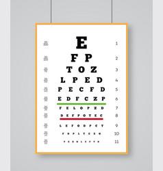 Snellen chart eye test for testing quality vision vector