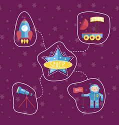 Space icons in cartoon style collection vector
