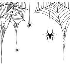 Spider web and spiders on a white background vector