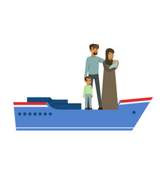 Stateless refugee family on a boat illegal vector