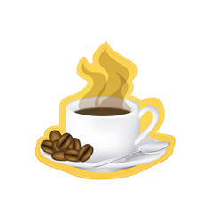 sticker image color with hot cup of coffee serving vector image