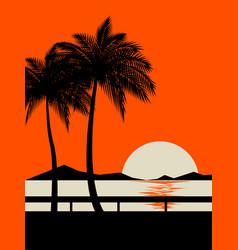 Summer sunset on beach vintage retro poster vector