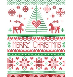 Tall merry Xmas pattern with reindeer in green red vector