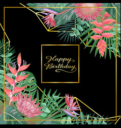 tropical happy birthday card vector image