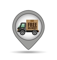 Truck free delivery icon map pointer design vector
