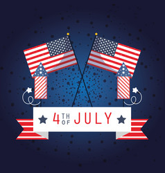 Usa flags with 4th july ribbon and fireworks vector