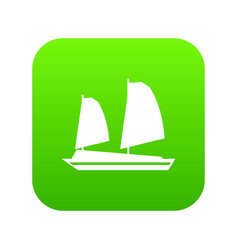 Vietnamese junk boat icon digital green vector