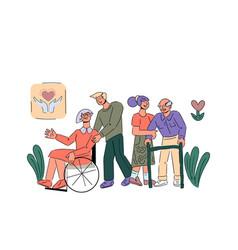 Volunteers take care senior disabled people vector