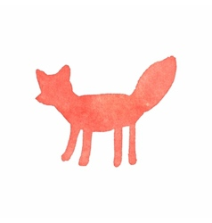 Watercolor fox on the white background aquarelle vector