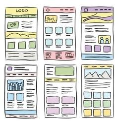 Website Layout Doodles vector