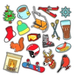 Winter Stickers Badges Patches Decoration vector image