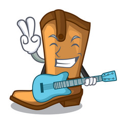 with guitar old cowboy boots in shape character vector image