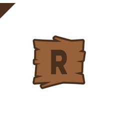 wooden alphabet or font blocks with letter r vector image