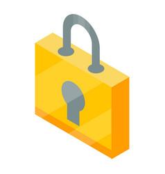 yellow padlock icon isometric style vector image