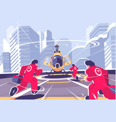 Yellow rescue helicopter and team flat poster vector