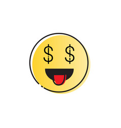 Yellow smiling cartoon face people emotion show vector