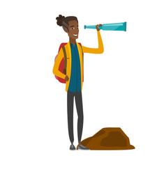 Young african-american traveler with spyglass vector