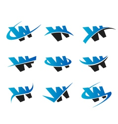 Alphabet W Logo Icons vector image vector image