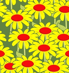 Chamomile seamless pattern Yellow flowers ornament vector image vector image