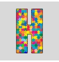 Color Puzzle Piece Jigsaw Letter - H vector image vector image
