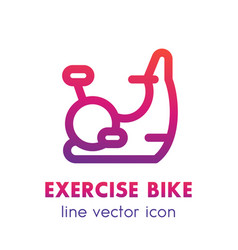 exercise bike line icon isolated over white vector image vector image