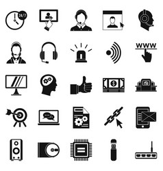 headphone icons set simple style vector image