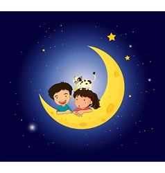 Children on the moon with a cat vector image vector image