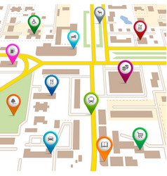 City map with pin pointers vector image vector image