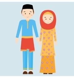 couple man woman wearing brunei islamic vector image