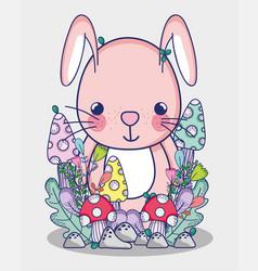 cute bunny doodle cartoon vector image